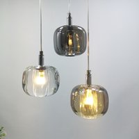 luxury crystal pendant lamp Nordic amber gray clear bedroom bedside luminaire suspension living room dining hanglamp lights