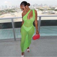 세련된 스트리트웨어 섹시한 마이스 드레스 봄 여름 여성 터틀넥 긴 소매 메쉬 See-The See-Through Party Club 의류 210224