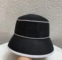 Moda Marka Saf Renk Çiftler Geniş Ağız Kova Şapka Mektup Desen Baskı Rahat Açık Güneş Hasır Şapkalar Önlemek Erkekler Kadınlar Seyahat Tatil Plaj Balıkçılık Balıkçılar Cap