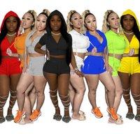 Frauen Trainingsanzüge Designer Zwei Teile Set Solide Farbe Mode Mit Kapuze Zip Top Shorts Jogging Suit Club Casual Kurzarm Enge Hose Sport Outfits 877