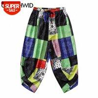 Kimono Harem Pants Men Multicolor Bandana Paisley Pattern Print Streetwear Hip Hop Casual Loose Elastic Waist Trousers PartyPants #rr1E