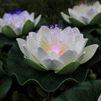 Dekorative Blumen Kränze Künstliche wasserdichte LED Optik Faser Licht Floating White Lotus Lily Hochzeitsfest Nacht Dekoration D55