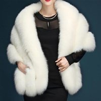 Wraps & Jackets Womens Luxurious Winter Faux Fur Scarf Collar Shrug Sexy V-Neck Shawl Wrap Stole Bridal Cloak Cape Cover Up For Wedding