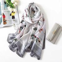 Yulaili بسيطة الأناقة المطبوعة الحرير وشاح الإناث الصيف واقية من الشمس متعددة الوظائف الأوشحة رقيقة النساء 2021 الربيع يلف