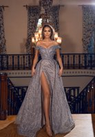Elegant Mermaid Split Prom Dress With Detachable Train Off The Shoulder Beaded Silver Sequined Lace African Plus Size Women Party Gowns