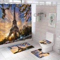 파리 거리 장면 3D 샤워 커튼 에펠 탑 욕실 커튼 비 슬립 받침대 깔개 화장실 뚜껑 덮개 목욕 매트 홈 장식