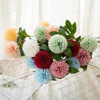 Flores artificiales Tenis de tenis Chrysanthemum Decoraciones para el hogar Flower Dandelion Decoración de la boda Arreglo Flor artificial LLB8878