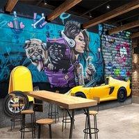 Wallpapers Custom Mural Wallpaper 3D Sports Car Graffiti Wall Art Background Papers Decor Restaurant Cafe PVC Waterproof Stickers