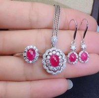 Real Set di gioielli naturali rubino 925 Pendente 1pc in argento sterling 925, 1 PZ Anello, 2pcs Braccialetto per orecchini, collana orecchini