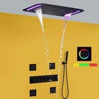 온도 조절 욕실 샤워 수도꼭지 세트 폭포 욕조 믹서 패널 천장 LED 강우 머리 71x43cm 시스템 세트