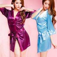 Ice Silk Womens Sexy Lingerie Underwear V-Neck Sold Solid Solid Sleepewear Roupão Feminino Belt Design Vestes