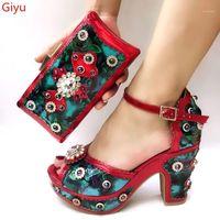 Kleid Schuhe tötenHau Italienisch mit passenden Taschen Set Italy Afrikanische Frau Party und Tasche Sets rot Farbe Frauen Schuhe! Sjj1-121.