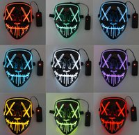 The latest 17X20.5CM led luminous mask Halloween dress up props party cold light strip ghost masks, support customization