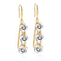 VAROLE Big Sparkle Cubic Zirconia Dangle Earrings For Women Gold Color Long Simple Earings Fashion Jewelry Oorbellen