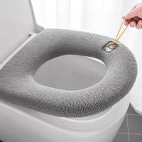 Toilet Seat Covers 1PC Winter Warmer Soft Fiber Cover Thickening Closestool Mat Pad Washable Cushion With Handle Bathroom Accessories