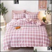 Bedding Supplies Textiles & Gardenbedding Sets Home Polyester Set Twin Fl Queen Double Duvet Er Flat Bed Sheet Pillowcase Linen Bedroom El B