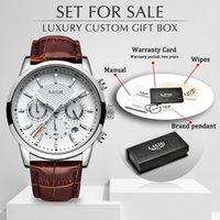 LIGE Üst Marka Lüks Moda Yeni Deri Kayış Kuvars Erkekler Saatler Casual Tarih İş Erkek Saatı Homme Montre Saat + Kutu 210407