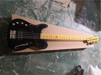 Entrega gratuita 4 cuerdas Guitarra Black Bass, Semi Hollow Mano izquierda Bajo, Cuello de arce Yello, Botón Chrome