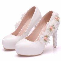 Dress Shoes Fashion Crystal Thin High Heels White Flowers Princess Wedding Pumps Platform Single Large Size For Women A0103