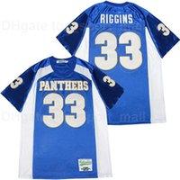 Filmfootball Freitag Nachtlichter Panthers 33 Riggins Indigo Jersey Männer Team Farbe Blau Sport Atmungsaktiv Reine Baumwolle Stickerei und Nähen Gute Qualität