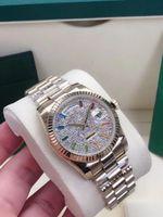 Высокое качество 36mm Daydate Mens Часы Полный Алмаз Ледовый Удаленный Автоматическая Механическая Нержавеющая Сталь Мужские наручные Часы Мода Спорт Человек Смотреть Мужской наручные часы