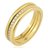 Cluster Rings Three Separate Ring Middle Frosted Or 20 Small Zircon Woman Stainless Steel Gold Color Jewelry Wholesale