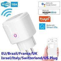 WiFi المكونات الذكية 16A الاتحاد الأوروبي المملكة المتحدة محول اللاسلكية عن بعد التحكم الصوتي طاقة الطاقة مراقب المخرج الموقت المقبس ل alexa جوجل المنزل