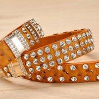 Belts Crystal Rhinestone Studded Belt Luxury Designer Strap Diamond Cowgirl Cowboy For Women Men Jean Cinto Strass Gift
