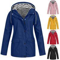 Women's Trench Coats Women Waterproof Jacket Coat Outdoor Hiking Long Hooded Raincoat Zip Pockets Windbreaker Plus Size Autumn Winter Outerw