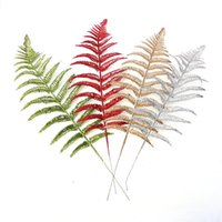 10X Glitter Leaf Stems Artificial Leaves Christmas Tree Home Wedding Party Decor Bunch Artificial Flowers Dried DIY Decor