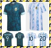 Jogador Fãs Versão Argentina Futebol Jersey 20 21 Copa América Casa Away Futebol Camisas 2021 Messi Dybala Lo Celso National Team Maradona Homens + Kid Kit uniformes