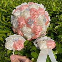Decorative Flowers & Wreaths Nude Pink Brooch Wedding Bouquets For Bride Bridesmaid Rhinestone Ribbon Rose Handmade Props