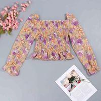 Kadın Tankları Camis 2021 Çiçek Kare Yaka Şifon Bluz Bahar Sonbahar Güz Kadın Seksi Lady Gömlek Fashionback Bandaj Slim için