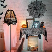 Halloween Spider Tablecloth Black Lace Cobweb Fireplace Cover Table Runner for Halloween Home Event Party Decoration Props Y0909