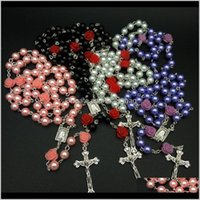 Pendant Necklaces & Pendants Jewelryboyfriend 8Mm Rose Pearl Cross, Rosary Necklace Catholic Ornament A Gift Good Friend Nacklace For Women D