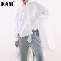 [EAM] Женщины белые спины длинные большие размеры блузка отворота рукава свободная подходит рубашка мода прилив весна осень 2021 JG72500 женские блузки женские рубашки