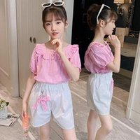 Clothing Sets Summer 2021 Kids Teen Girls Clothes Plaid Tops Shorts Suit Children Fashion Costume For 4 6 8 10 12 Years