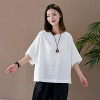 Johnature Yaz Katı Renk Pamuk Keten Patchwork O-Boyun Kısa Kollu Kazak T-shirt 2021 Basit Rahat Kadınlar Kadınlar Tops