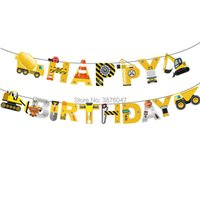 Party Decoration 1 Set Truck Happy Birthday Banners Construction Vehicle Theme Decorations Kids Boy Birtday Car Toys Flags