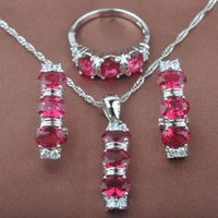 Wedding Jewelry Sets 2021 Red Stone Zircon Women's Stamped 925 Silver Necklace Pendant Stud Earrings Rings TZ0155