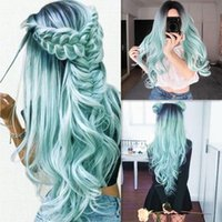 Synthetic Wigs Fashion 5 Style Black Ombre Long Wave Centre Parting Pink Loose Curly Wig Full Cosplay Halloween Costume