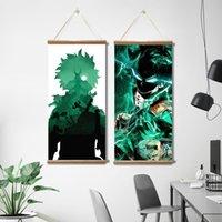 Atacado anime japonês meu herói academia midoriya izuku lona poster pinturas de rolagem imagens de parede para sala de estar decoração com moldura