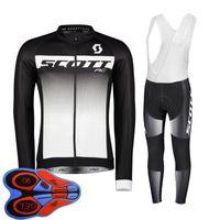 Spring / Autum Scott Team Mens Велоспорт Джерси Набор Длинные Рубашки Длинные Рубашки Нагрудник Брюки Костюм MTB Велосипедные Настройки Racing Велосипед Униформа Открытый Спортивный Спорт ROPA Ciclismo S21042035