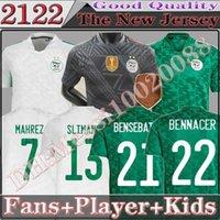 2021 Argélie Home Branco Branco Fãs Verdes Versão Jogador Versão Futebol Jerseys Mahrez Feghouli Bennacer Atal 20 21 Kits de Futebol Camisa Men + Kids Conjuntos Maillot de pé