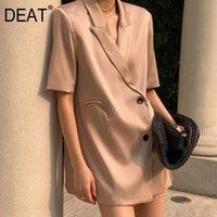 الدعاوى النسائية الحلل [ديت] 2021 الصيف أزياء المد معطف فضفاضة بدوره أسفل طوق مزدوجة الصدر بلون قصيرة الأكمام السترة النساء 13