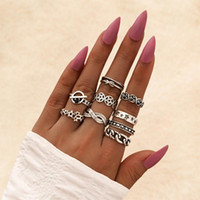 Cluster Rings 9 Pcs Set Women Vintage Set Star Rose Unlimited 8 Geometry Silver Color Finger Ring Ladies Classic Party Jewelry