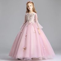 Girl's Dresses Flower Girl For Weddings O Neck Half Sleeves Kids Party Communion Appliques Beaded Princess Dress