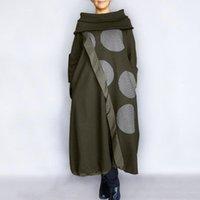Sonbahar Elbise Vonda 2021 Kadınlar Yüksek Boyun Vintage Polka Dot Baskılı Uzun Kollu Elbiseler Sıcak Kaftan Robe Gevşek Bohemian Vestidos Günlük