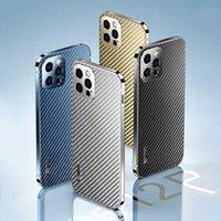 Premium Titanium Steel Metal phone Case for iphone 13 Pro Max 13 Mini Carbon Fiber Back Cover for iphone 13 12 Pro Mobile Coques H1009