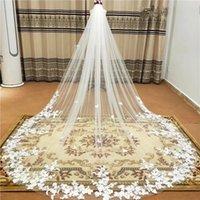 В наличии ! Velos de Novia Applique собор Свадебная вуаль с гребенью мягкий тюль Bridal аксессуары CPA3217